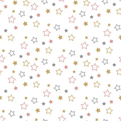 Endless Christmas Pattern. Star Background.