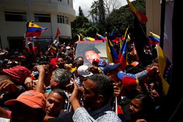 Supporters of Venezuela's President Nicolas Maduro demonstrate outside Palacio Federal Legislativo during the National Constituent Assembly's first session, in Caracas
