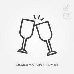 Line icon celebratory toast
