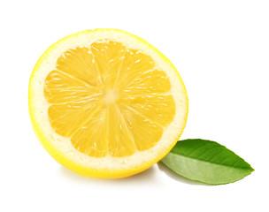 Half of fresh lemon on white background