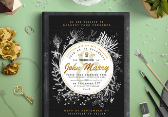 Black and White Wedding Invitaiton with Gold Accents 1