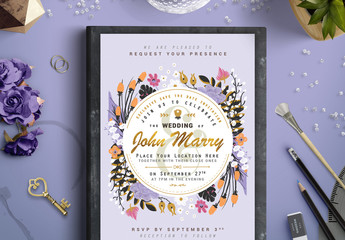 Hand-Drawn Floral Wedding Invitation with Gold Accents 1
