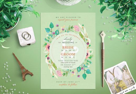 Watercolor Wildflower Wedding Invitation 5