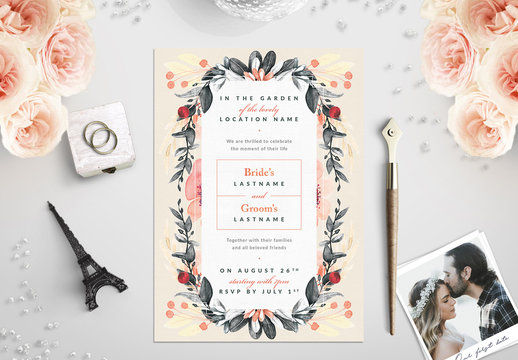 Watercolor Vine and Flowers Wedding Invitation 1