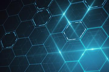 Fotobehang - Blue hexagonal texture