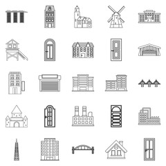 Development icons set, outline style
