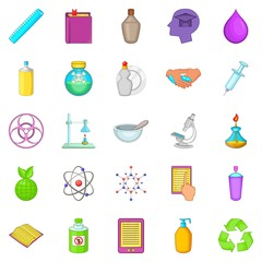 Chemical experience icons set, cartoon style