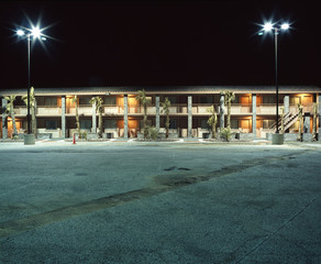 Hotel Car Parking Lot At Night Time