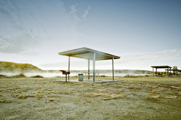 Picnic area with barbecue and shade canopy.