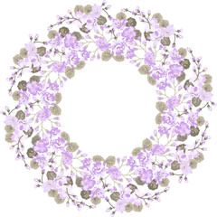 Round frame of abstract branches, leaves and flowers. Floral wreath, element for your design in vector.