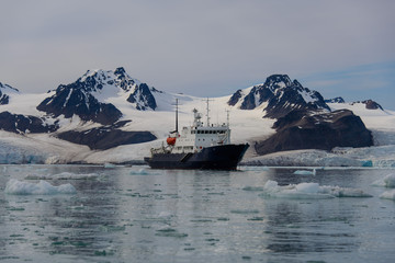 Expedition vessel in Arctic