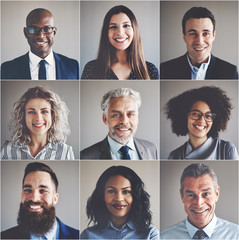 Smiling group of ethnically diverse professional businessmen and