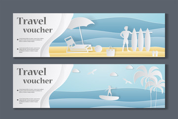 Gift Voucher template. Paper Crafted Cutout World. Concept of summer time, surf board and sea or ocean. Vector illustration