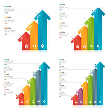 Set of arrow infographic templates for data visualization. 3-6 options, levels, steps.