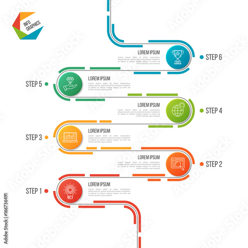 abstract 6 steps road timeline infographic template