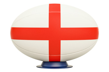 Rugby Ball with flag of England, 3D rendering