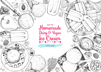Ice cream top view frame. Vector sketch for vintage menu design. Hand drawn food elements with ice cream, berries and fruits.