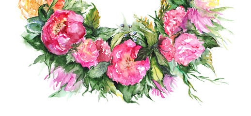 Watercolor flower floral romantic wreath frame illustration