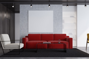 Red sofa living room with a poster, close up