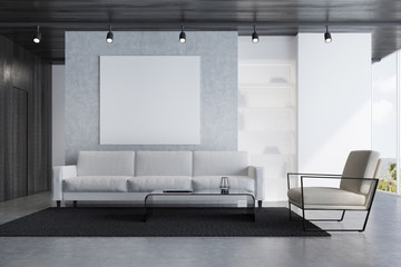 Gray sofa living room with a poster