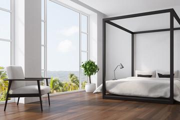 White bedroom interior, tree, corner