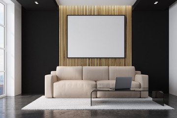 Beige sofa living room with a poster