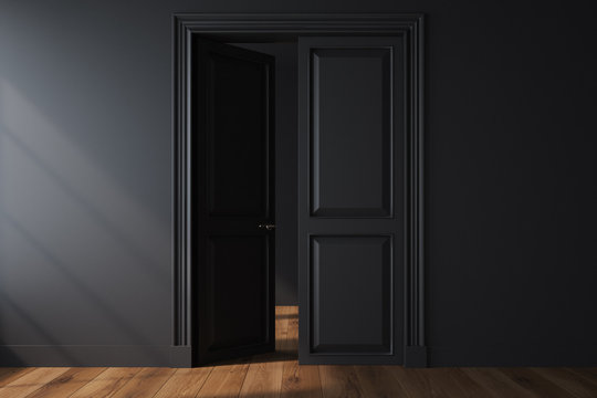 Empty room with an open door