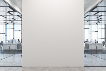 White and glass office, white wall