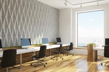 Gray diamond wall pattern open office, corner