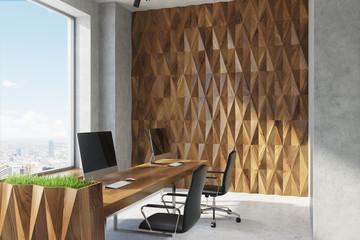 Diamond wall pattern open office, closeup