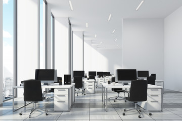 White open office, white wall