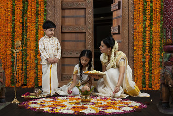 South Indian woman with son and daughter