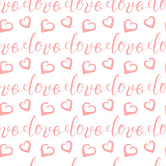 Background for Valentines day, wedding invitation. Seamless pattern  with hand drawn love lettering, heart. Design  for greeting card, scrapbook