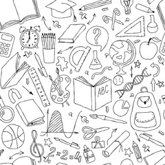 Back to school seamless vector pattern. Good for textile fabric design, wrapping paper and website wallpapers