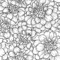 beautiful monochrome black and white seamless background dahlia Hand-drawn.