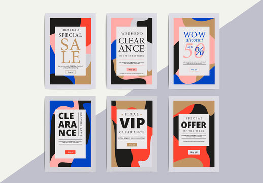 Abstract Patterned Social Media Commerce Layouts 2