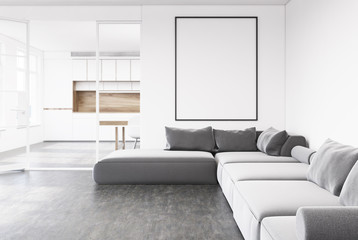 Gray sofa living room, poster, kitchen