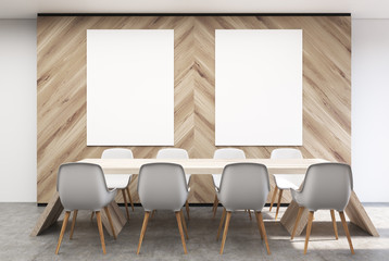 White and wooden conference room, posters