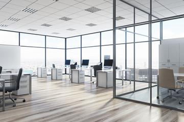 Open space office environment, aquarium