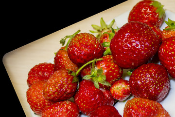 strawberries on a plate. Top view
