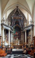 Beautiful baroque church interior in Brussels, Belgium
