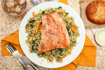 Salmon with Cracked Freekeh Salad