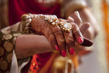 Close-up of hands of groom and bride