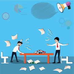 Business teamwork,two businessman meeting,discussion and fight - Vector