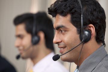 Call center agent smiling