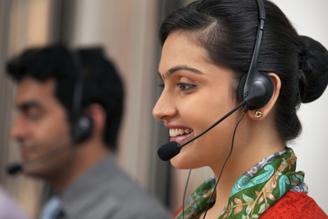 Female call center agent smiling