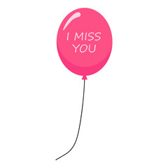 Pink air balloon with text i miss you