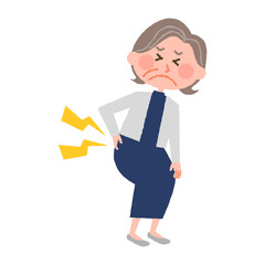 vector illustration of an elderly woman with low back pain
