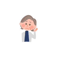 vector illustration of an elderly woman hard to hear