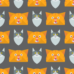 Cats vector illustration cute animal seamless pattern funny decorative kitty characters feline domestic trendy pet kitten